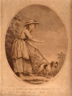 view A shoeless blind girl is led by a dog on a path. Sepia stipple engraving by T. Gaugain, 1785, after J. Northcote.
