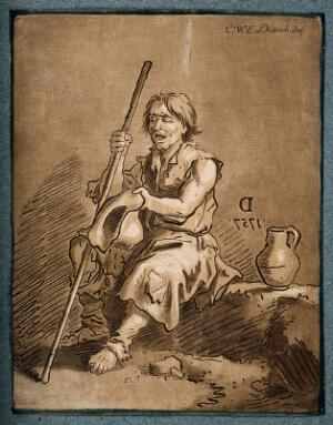 view A blind beggar holds out his hat for money. Coloured mezzotint by C.W.E. Dietrich, 1757.