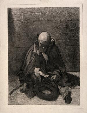 view A blind beggar sits, head lowered, hand begging for money. Etching by J. Zubau, 1865.