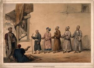 view A 'kuttar' or line of blind beggars in a row, two other men in discussion, Kabul, Afghanistan. Coloured lithograph after L.W. Hart, 1843.