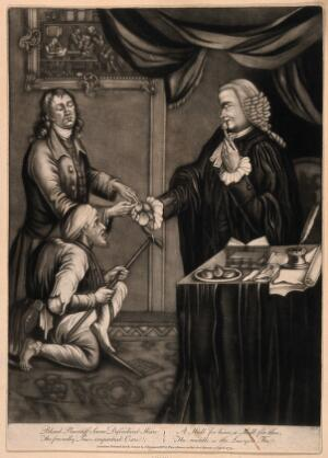 view A pun about two men, one a cripple the other a blind man, who beg alms from the law represented by a lawyer, who is eating oysters but gives them the empty shells; with a verse below. Mezzotint, 1779.