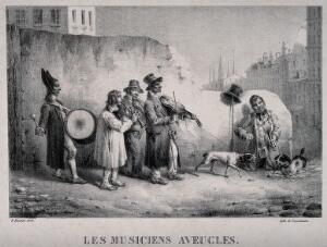 view A troupe of blind musicians and their dogs confronting a rival street musician and his dog. Lithograph by Engelmann after M.S. Baptiste, 1828.
