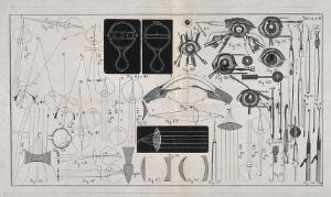 view A sheet showing optical instruments, eye examinations, diagrams to show the effect of lenses and diagrams of the eye with a numbered key. Wood engraving.