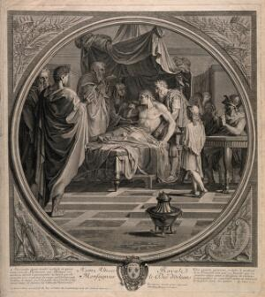 view Alexander the Great demonstrates his trust in his physician Philip by drinking a medicinal draught prepared by him even after receiving a letter alleging that Philip is trying to poison him. Line engraving by B. Audran, the elder, after E. Le Sueur.