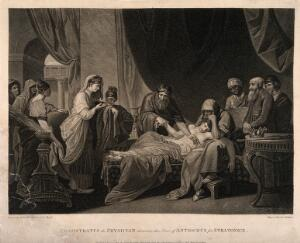 view Erasistratus, a physician, realising that Antiochus's (son of Seleucus I) illness is lovesickness for his stepmother Stratonice, by observing that Antiochus's pulse rose whenever he sees her. Stipple engraving by G. Graham, 1793, after Sir B. West.