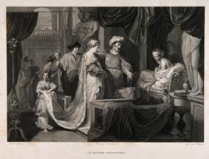 view Erasistratus, a physician, realising that Antiochus's (son of Seleucus I) illness is lovesickness for his stepmother Stratonice, by observing that Antiochus's pulse rate rises when ever he sees her. Engraving by P. Baquoy after A. Desenne after G. de Lairesse.