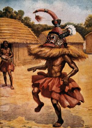 view A shaman or medicine man from the Lower Congo. Colour process print after N.H. Hardy.
