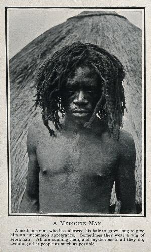view A medicine man or shaman from Africa (?). Process print.