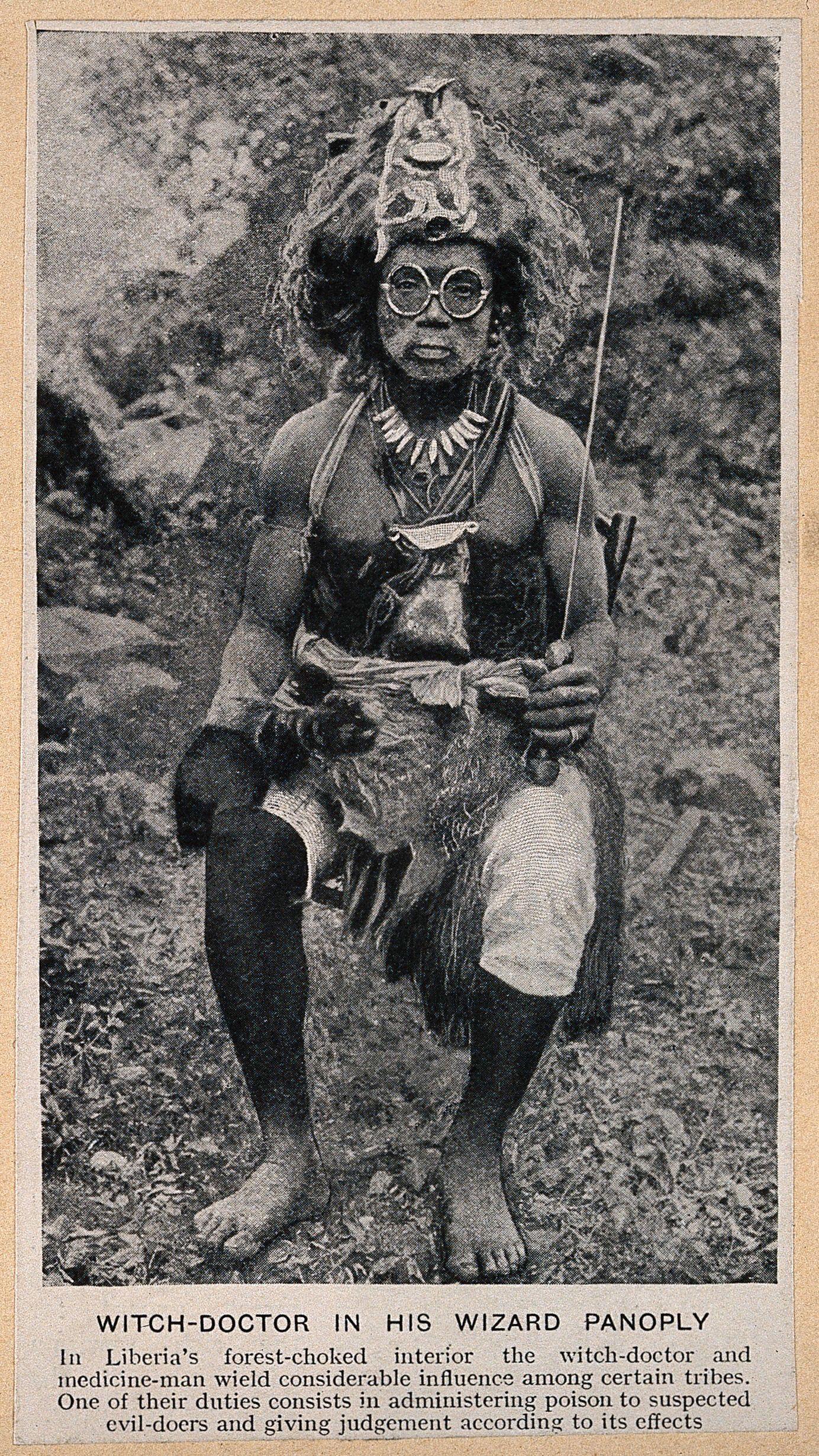 A Liberian medicine man or shaman, West Africa  Halftone