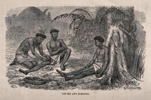 view An African medicine man cupping and bleeding two patients. Wood engraving by Dalziel after J. Leech.