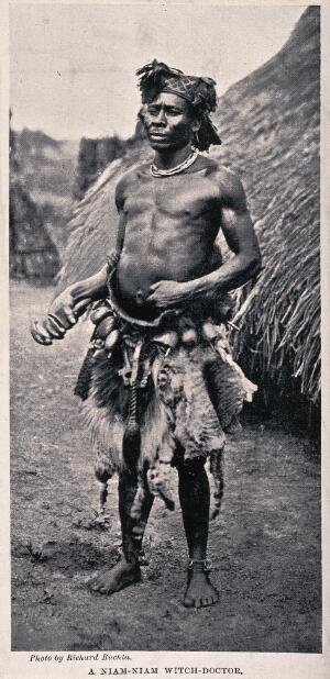 view A Niam-Niam medicine man or shaman, equatorial Africa. Halftone after R. Buchta.