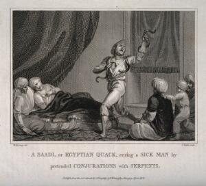 view A Saadi, or Egyptian shaman using snakes and incantations to cure a sick man. Engraving by T. Wallis, 1806, after W.M. Craig.