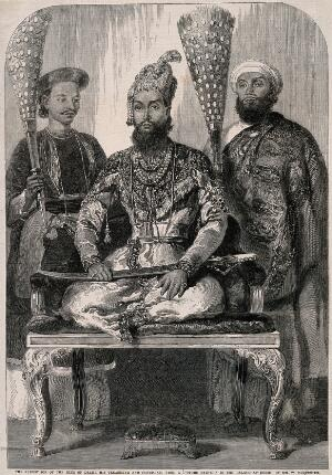 view The eldest son of the King of Delhi accompanied by his physician and treasurer. Wood engraving after W. Carpenter.
