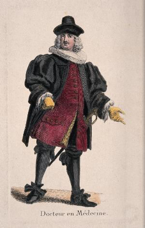 view A physician in traditional costume with sword, France 17--. Coloured engraving.