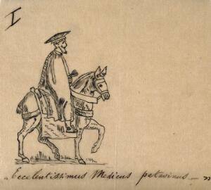 view A physician in traditional costume on horseback. Ink drawing.