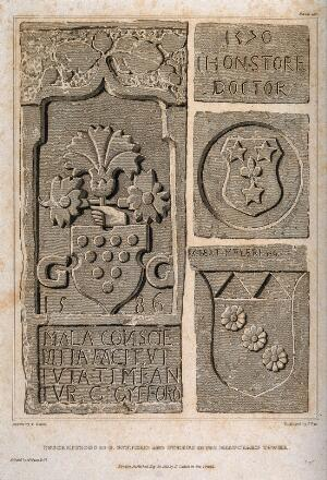 view Crests and coats-of-arms of several doctors from a bas-relief in the Beauchamp tower. Etching by J. Pye the younger, 1821, after F. Nash.