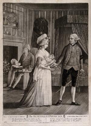 view A generous physician refusing money for services rendered from a poor family. Mezzotint.