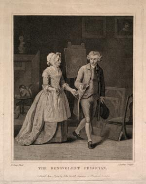view A generous physician refusing payment from a sick patient's wife. Stipple engraving by J. Baldrey, 1784, after E. Penny.