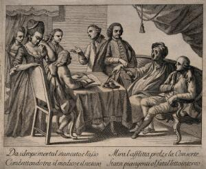 view A man suffering from dropsy dictating his will while a physician takes his pulse, he is surrounded by his wife and friends. Engraving.