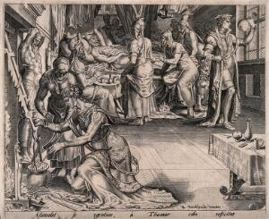 view Amnon, son of David, simulates illness in order to attract his half sister Tamar, who is preparing a meal; in the corner a physician is examining a urine specimen. Line engraving after M. van Heemskerck.