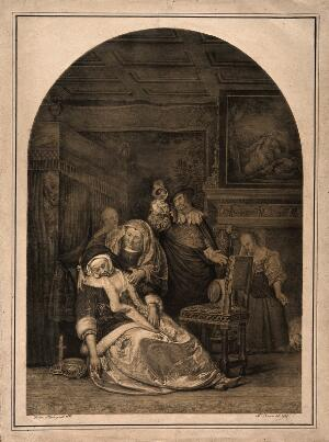 view An ill woman collapsing, a maid rushes to her aid while her physician is examining a urine specimen. Lithograph by N. Strixner, 1819, after F. van Mieris, 1667.