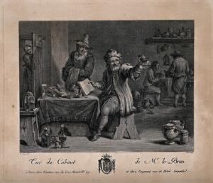 view A physician, in his surgery and workshop, examining a urine flask and referring to a book. Engraving by J.P. Le Bas after D. Teniers.