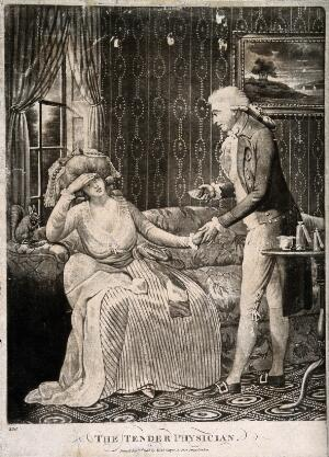 view A young male physician holding the hand of a female patient, a squirrel is seated next to her chewing. Mezzotint.