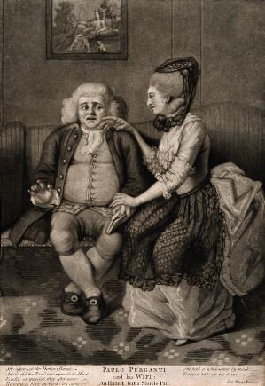 view Paulo Purganti, a physician shrinking from his wife's caresses. Mezzotint.