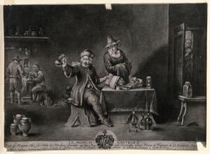 view An excited physician examining a urine specimen and referring to a book, while the patient waits for the diagnosis, two assistants are mixing concoctions in the background. Mezzotint by J.B. Enzensberger after D. Teniers, the younger.