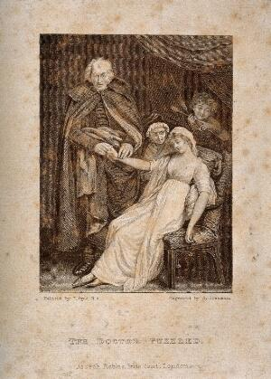 view A puzzled physician taking the pulse of a young female patient, a boy in the backgroung is pointing to arrows, suggesting that the malady is lovesickness. Engraving by S. Freeman after J. Opie.