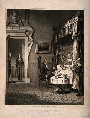 view A physician arguing with his wealthy patient who is bed, a visitor appears at the door. Aquatint after H. Dawe, 184-.