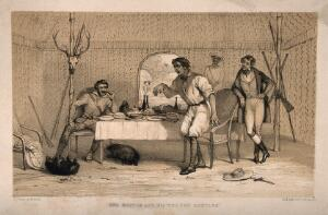 view A man making fun of a physician because he keeps two wild animals as pets, in a tent in India(?). Lithograph by R.J. Hamerton after himself.