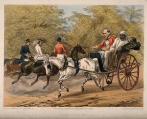 view A British administrator and retired physician driving a carriage at high speed, accompanied by an Indian servant. Coloured lithograph by E. Walker after Captain G.F. Atkinson.