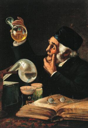 view A chemist examining a flask of golden liquid, with a book and chemical apparatus. Colour process print.