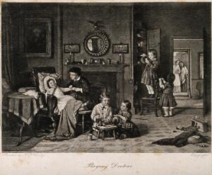view A group of children playing at being doctors and pharmacists, mother and grandmother approach through a door. Photogravure after F.D. Hardy.