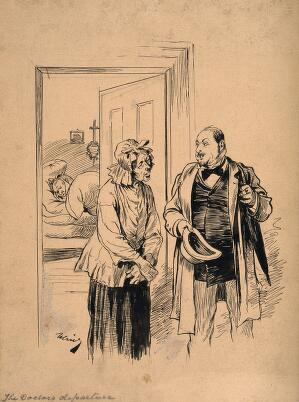 view A physician talking to his patient's wife on his way out after visiting him. Pen drawing by J. Ulrich.