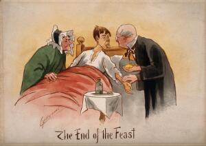 view A patient poking out his tongue and having his pulse taken by a physician. Watercolour by M. Anderson.