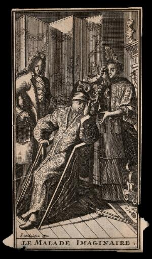 view Le malade imaginaire: Argan, a hypochondriac feigning illness in front of Béline, his wife and Dr. Purgon, his physician, in a scene from Molière's play. Etching by G. Schouten after J.B. Molière.