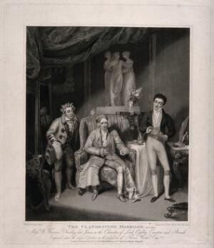 view Lord Ogleby with Canton (a valet) and Brush in a scene from Colman and Garrick's The clandestine marriage. Engraving by H. Meyer, 1821, after G. Clint.