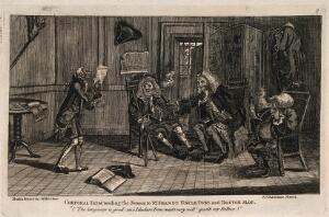 view An episode in Tristram Shandy: Corporal Trim reading a sermon to Mr. Shandy, Uncle Toby, and Doctor Slop. Etching after L. Sterne.