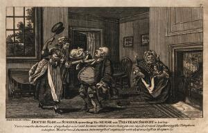 view An episode in Tristram Shandy: Dr. Slop being attacked by Susannah with a saucepan, while the nurse holds the baby Tristram Shandy. Etching after L. Sterne.