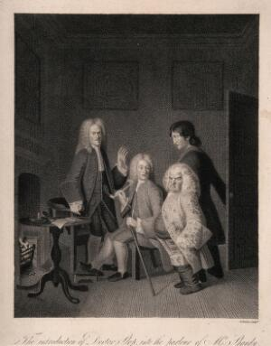 view An episode in Tristram Shandy: Dr. Slop being introduced to Tristram Shandy's father, who is smoking with a friend in his parlour. Stipple engraving by W. Haines, 1809, after L. Sterne.