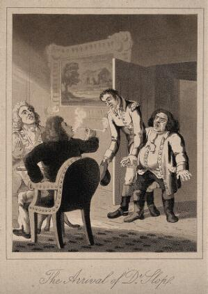 view An episode in Tristram Shandy: Dr. Slop arriving at the home of Tristram Shandy, where Mr. Shandy is seated with a friend and smoking. Aquatint by J.H. Clark after L. Sterne.