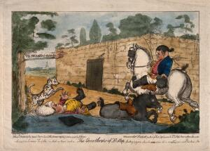view An episode in Tristram Shandy: Obadiah, riding a coach horse, knocks Dr. Slop off his pony, a sign points to Shandy Hall. Coloured etching after H.W. Bunbury after L. Sterne.