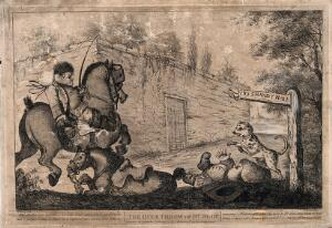 view An episode in Tristram Shandy: Obadiah riding a coach horse knocks Dr. Slop off his pony into a pond, a sign to Shandy Hall hangs over him. Etching by J. Bretherton, 1773, after H. Bunbury after L. Sterne.