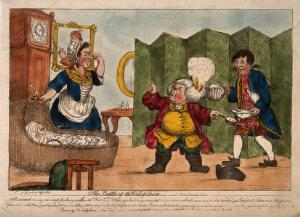 view An episode in Tristram Shandy: Dr. Slop, with his wig on fire, angrily gesticulating to Susannah who holds her nose near the wounded baby Tristram Shandy. Coloured etching after H.W. Bunbury after L. Sterne.