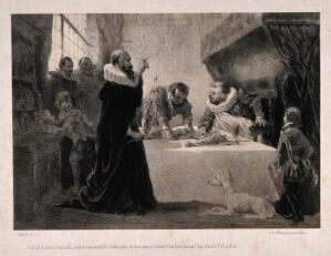 view Sancho Panza (the squire of Don Quixote) , at a banquet, being starved for health reasons by his physician. Lithograph by C. Nanteuil after M. de Cervantes Saavedra.
