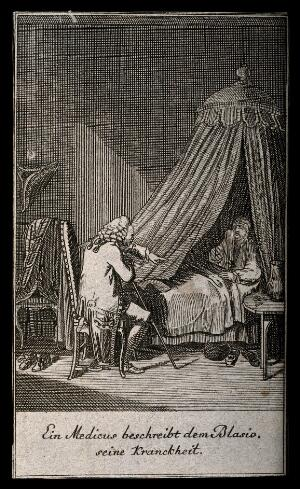 view A physician talking to a patient who is in bed. Engraving.