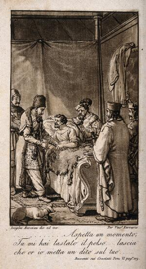 view A Saracen physician taking the pulse of a Christian patient who is surrounded by fellow crusaders. Aquatint by S. Marceau, 1826.