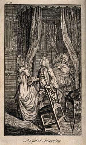 view A physician leading a woman away from her husband who has just died in bed. Etching.